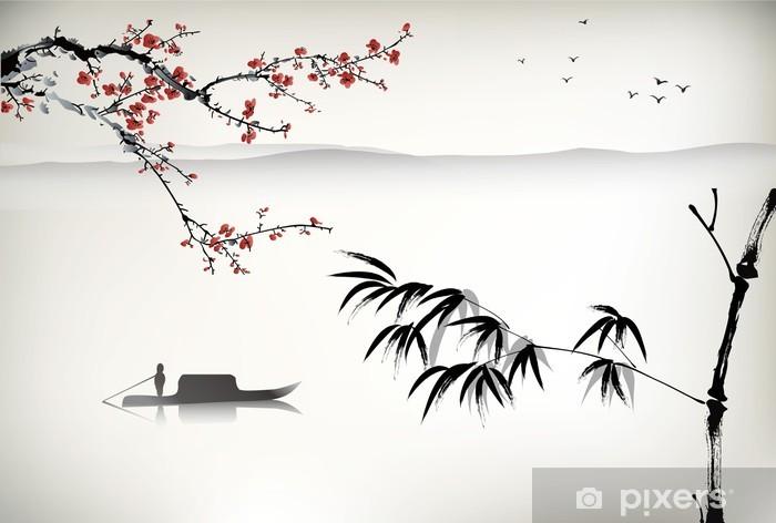 Carta da Parati in Vinile Pittura di paesaggio cinese - Temi