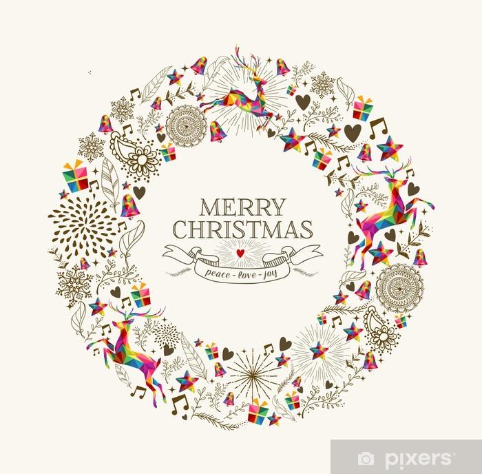 Immagini Vintage Natale.Poster Vintage Natale Biglietto Di Auguri Corona Pixers Viviamo Per Il Cambiamento