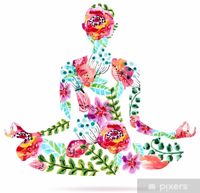 Yoga pose, watercolor bright floral illustration Vinyl Wall Mural - Wall decals
