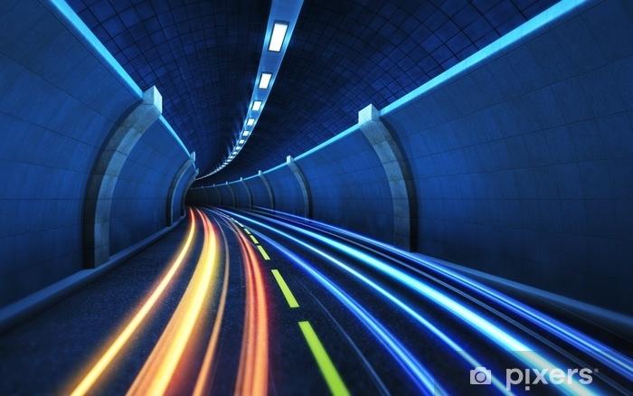 Vinyl Fotobehang Lichte strips in de tunnel. - Grafische Bronnen