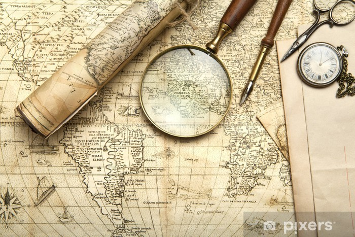Naklejka Pixerstick Vintage mapie - Tematy