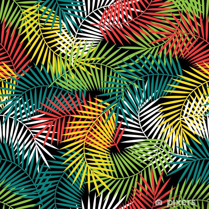 Seamless tropical pattern with stylized coconut palm leaves. Pixerstick Sticker - Styles