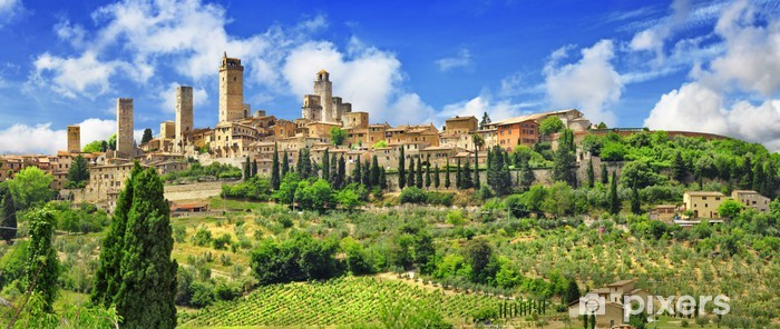 Pixerstick Sticker Panorama van prachtige San Gimignano, Toscane. Italië - Europa
