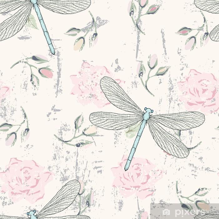 Sticker Pixerstick Grungy seamless floral avec des libellules - Styles