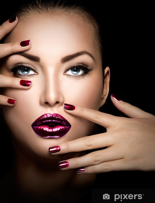 Fashion model girl face, beauty woman makeup and manicure Vinyl Wall Mural - Themes