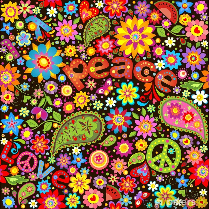 Wallpaper with hippie symbolic Vinyl Wall Mural - National Events