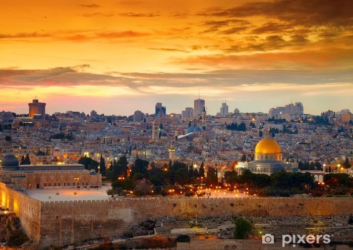 Vinilo Pixerstick Vista a Ciudad Vieja de Jerusalén. Israel - Temas