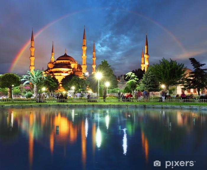 Istanbul with rainbow - Blue mosque, Turkey Pixerstick Sticker - Themes