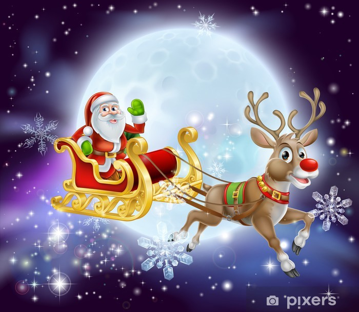 Santa Christmas Sleigh Moon Wall Mural Pixers We Live To Change
