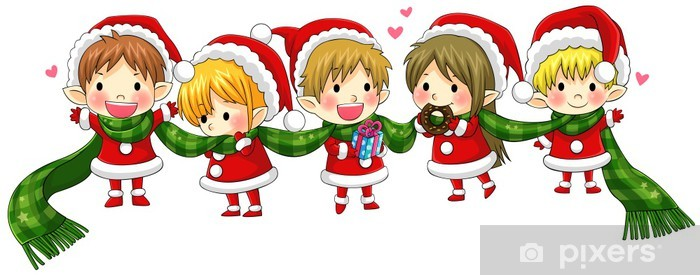 Christmas Elves.Cute Christmas Elves Tie Together With A Long Scarf Vector Wall Mural Vinyl