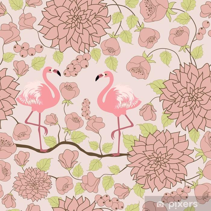 Fototapeta winylowa Kwiatowy wzór z parę flamingów - Zwierzęta