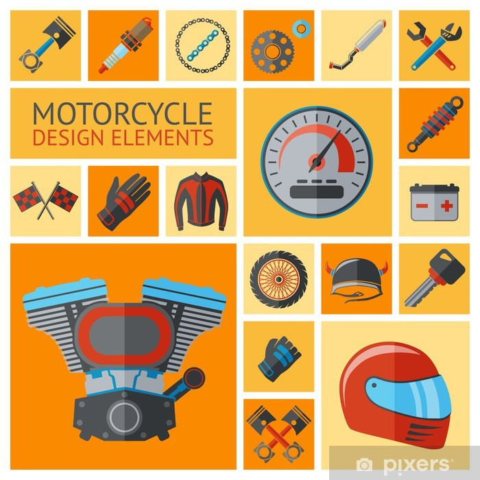 Sticker Pixerstick Moto pièces définies - Sur la route