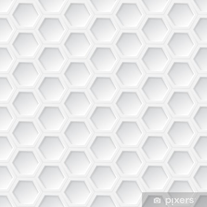 Nálepka Pixerstick Bílá 3d hexagon bezešvé vzor - Grafika