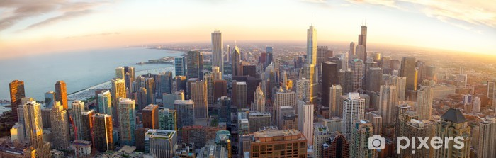 Aerial Chicago panorama at sunset, IL, USA Vinyl Wall Mural - Themes