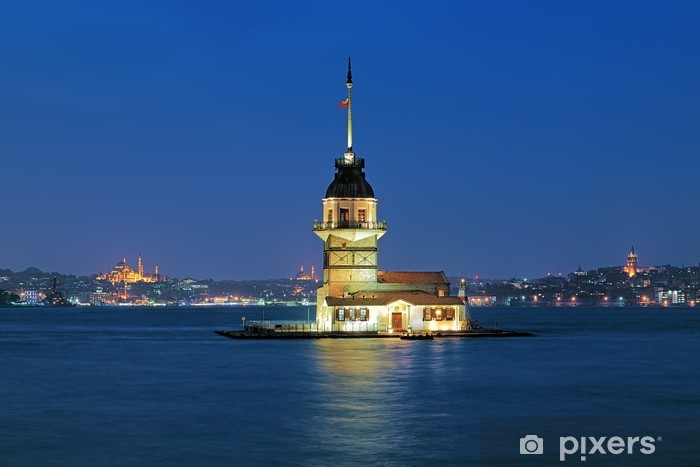 Evening view of Maiden's Tower in Istanbul, Turkey Vinyl Wall Mural - Lighthouse