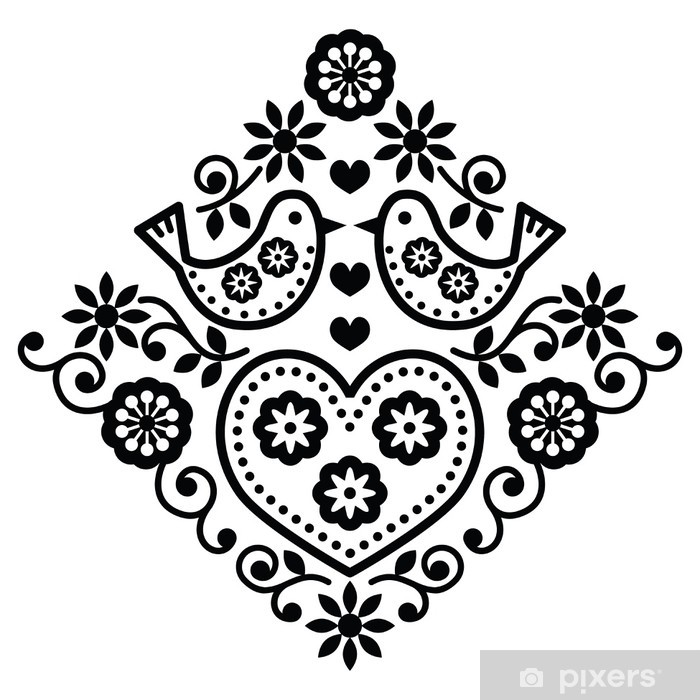 Poster Folk art floral modèle vectoriel noir avec des oiseaux - Arrière plans