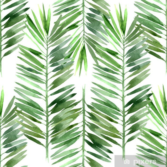 Pixerstick Dekor Akvarell palm blad sömlös - Växter & blommor