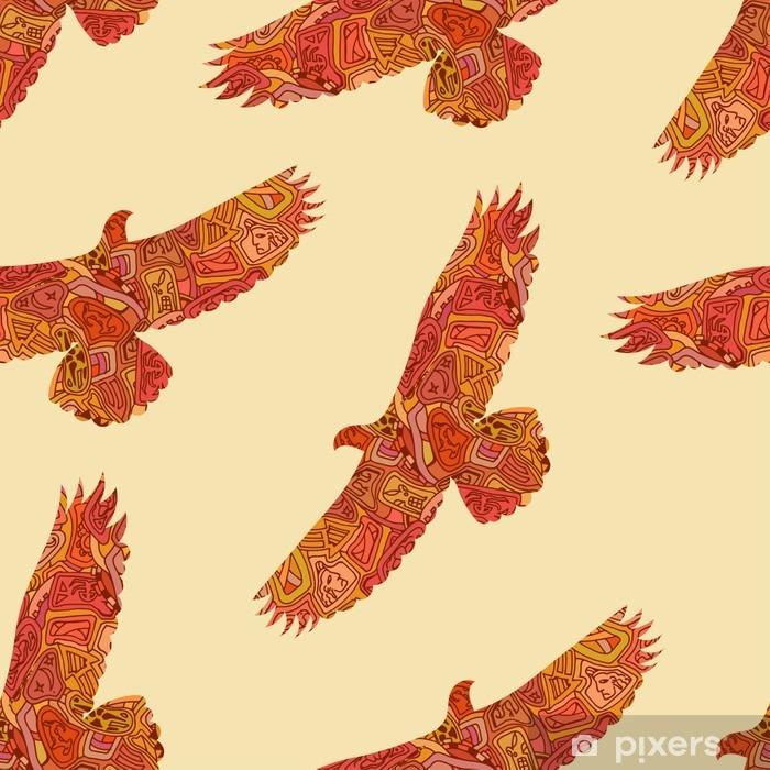 Papier peint vinyle Motif tribal décorative transparente avec les aigles. Vector illustrat - Ressources graphiques