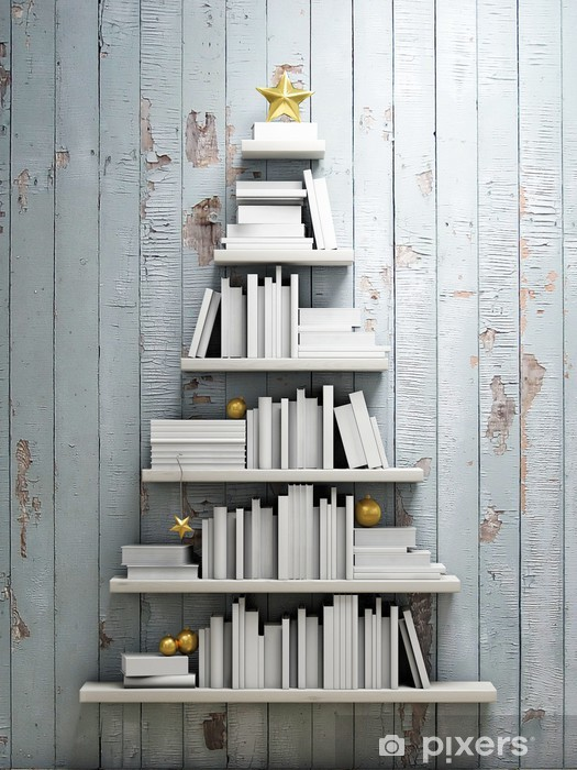 Pixerstick Sticker Boekenplank vormig christmas tree, achtergrond - bibliotheek