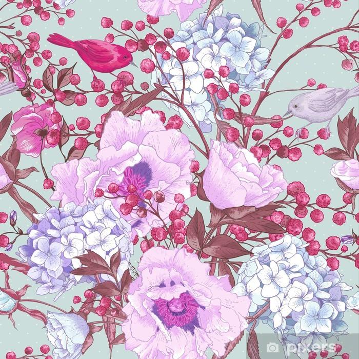 Naklejka Pixerstick Delikatne Wiosna Floral bezszwowe tło - Kwiaty