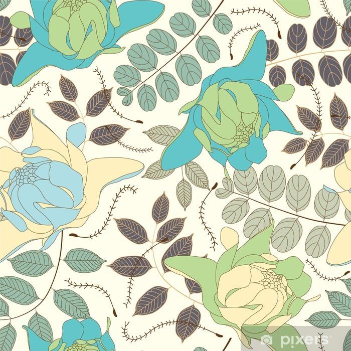 Vinyl-Fototapete Blätter und Blumen auf einem hellen Hintergrund - Blumen