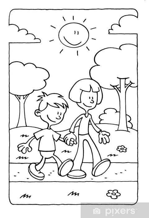 Coloriage Fille Garcon.Papier Peint Coloriage D Un Garcon Et Une Fille Marche Dans Le Parc