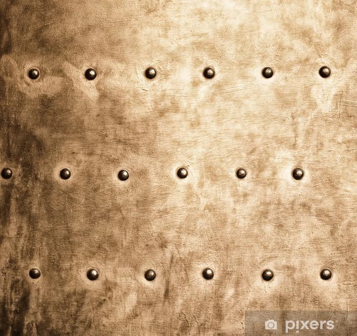 Vinilo Pixerstick Textura tornillos remaches Grunge placa de oro marrón de metal de fondo - Texturas
