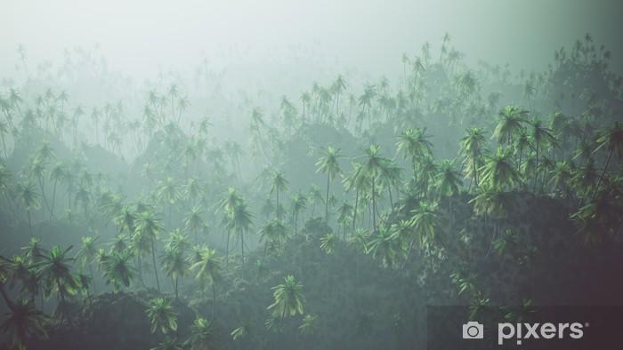Fototapeta winylowa Aerial palmowy las we mgle. - Inne Inne