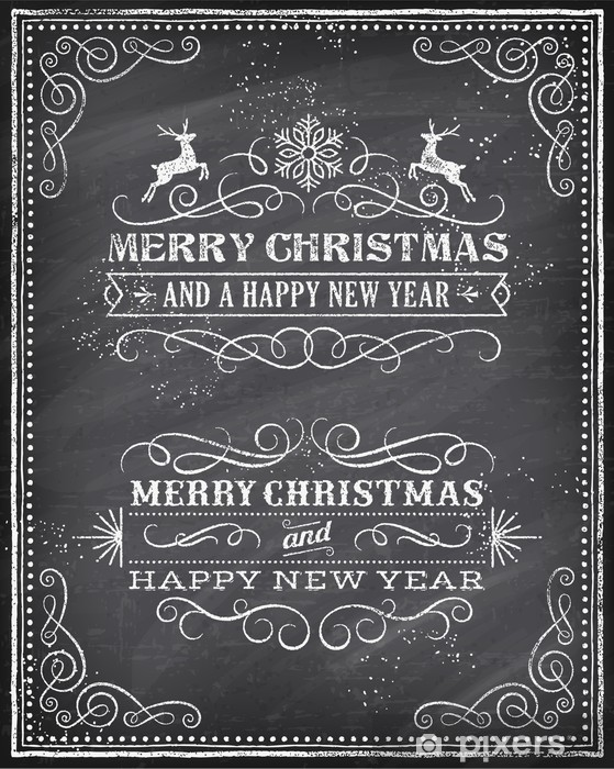Christmas Chalkboard.Vector Christmas Chalkboard Greeting Card Wall Mural Vinyl