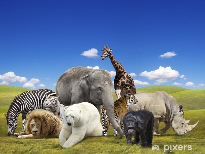 Sticker Pixerstick Groupe d'animaux sauvages - Mammifères