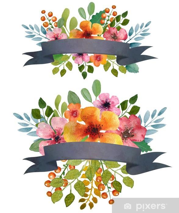 Sticker Pixerstick Aquarelle couronne de fleurs. - Évènements nationaux