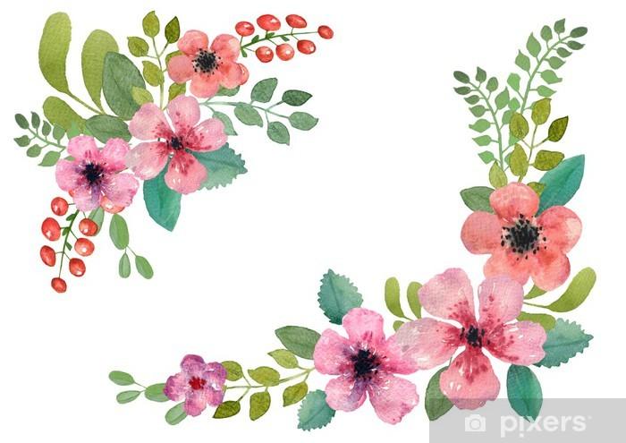 papier peint aquarelle couronne de fleurs pixers. Black Bedroom Furniture Sets. Home Design Ideas