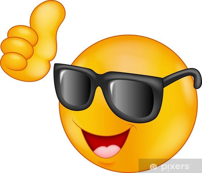 Sticker Pixerstick Sourire émoticône lunettes de soleil donnant pouce vers le haut - Mode