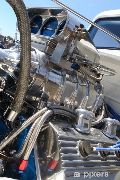 Fotomural Estándar Motor del cromo del coche de carreras - Materias primas