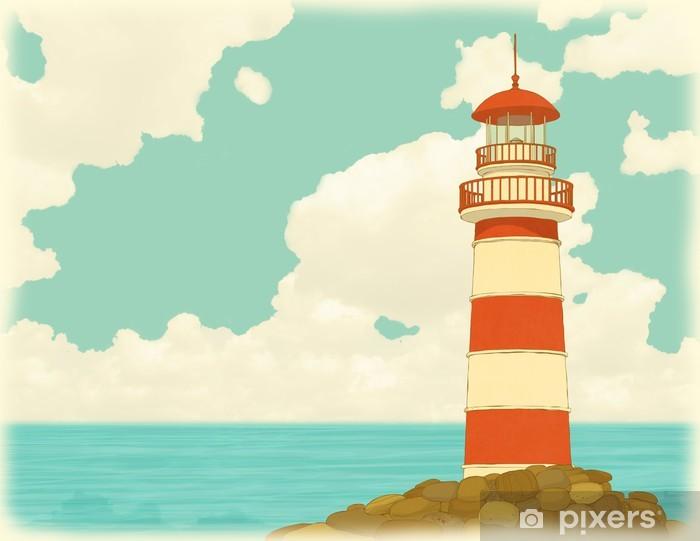 Papier peint vinyle Vieux phare rayé sur le fond de ciel et de la mer - Europe
