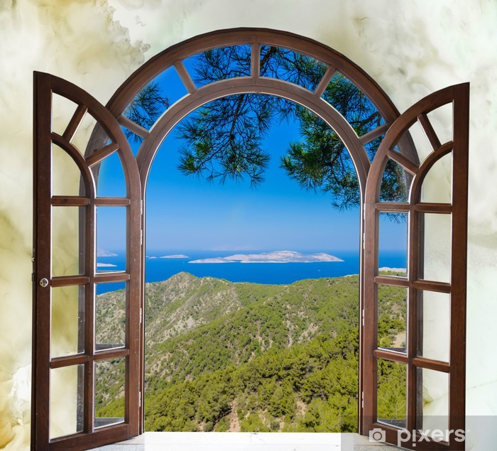 nature landscape with a view through a window with curtains Vinyl Wall Mural - iStaging