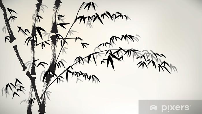 Mustetta maalattu bambu Pixerstick tarra - Kasvit