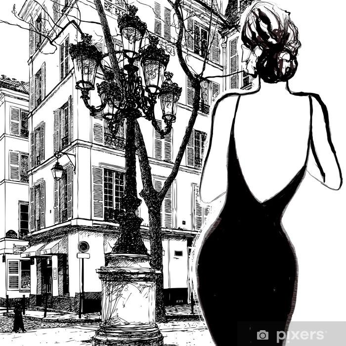 Papier peint vinyle Jeune femme élégante dans une robe noire - Villes européennes