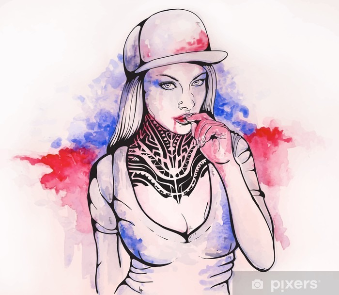 girl in a cap and tattoos Framed Poster - People