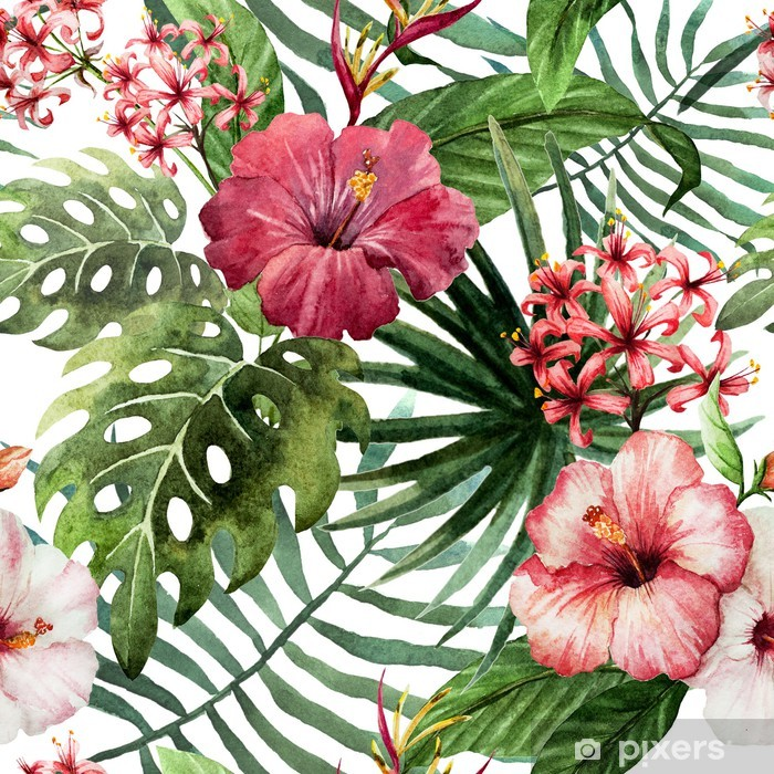 Fototapeta winylowa Wzór liści hibiskusa orchidei tropików akwarela - Drzewa