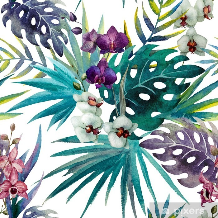 Fototapeta zmywalna Wzór z liśćmi hibiskusa i orchidei, akwarela - iStaging