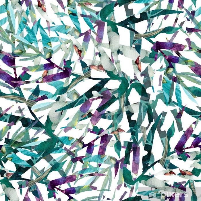 Fototapeta winylowa Pozostawia abstrakcyjny wzór tapety tło akwarela - Tekstury