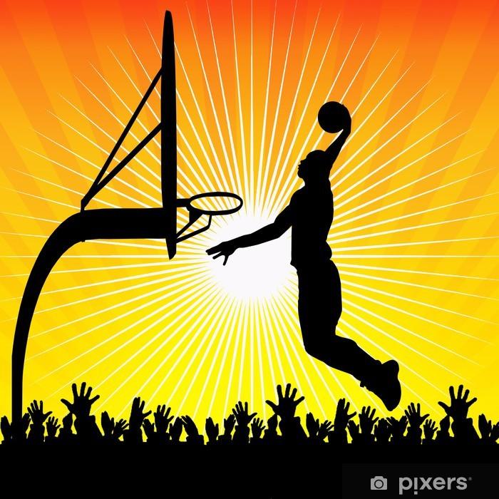 Naklejka Pixerstick Koszykarz i tłum - Koszykówka