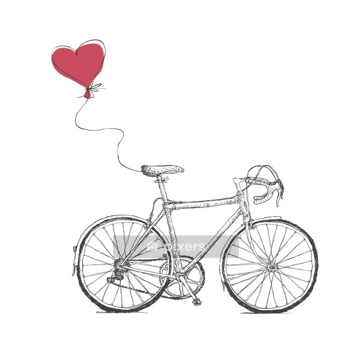Vintage Valentines Illustration with Bicycle and Heart Baloon Wall Decal - Graphic Resources