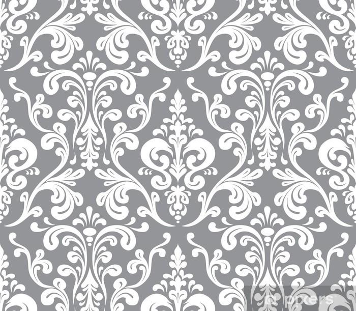 Sticker pour vitres et fenêtres Vecteur. motif damassé élégante transparente. Gris et blanc - Textures