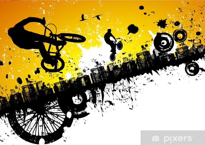 Sticker Pixerstick BMX dans un fond de ville - Cyclisme