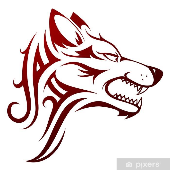 Fototapete Wolf Kopf Tattoo