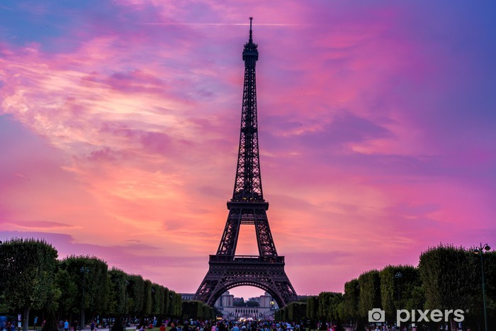 Eiffel Tower At Sunset In Paris Wall Mural Pixers 174 We