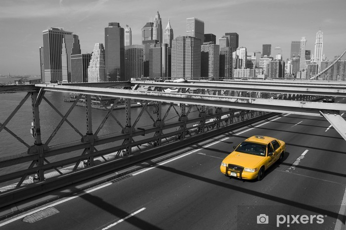 New York - Brooklyn Bridge e taxi giallo Vinyl Wall Mural - Themes