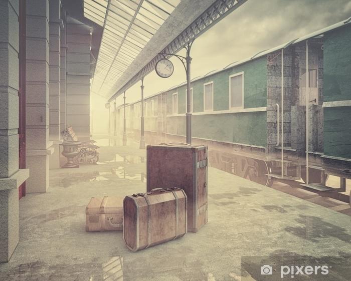 Papier peint vinyle La gare ferroviaire rétro - Passe-temps et loisirs